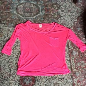 Neon pink sheer relaxed tee
